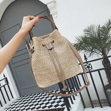 Women Rattan Woven Handbag Vintage Straw Beach Handbag Bucket Tote Shoulder Bag