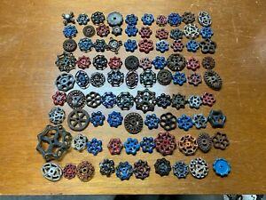 Lot of 90 vintage valve handles cast iron aluminum steel steampunk art crafts