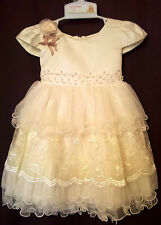 baby Christmas christening princess party dress 9-12 pale gold yellow satin new