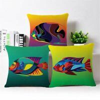 Decor Tropical Cover Home Sofa Linen Case fish Pillow Throw Cushion Cotton