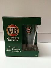 VICTORIA BITTER VB SET OF 4 SKOL GLASSES  275 ML WITH 4 COASTERS