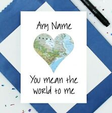 personalised Valentine's Day card - anniversary card - I love you card - world
