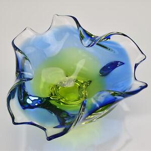 Spectacular Italian Scaloped Art Glass Bowl Flavio Poli Seguso Sommerso MCM Rare