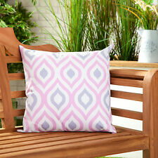 Pink & Grey Abstract Water Resistant Outdoor Printed Garden Scatter Cushion Cane