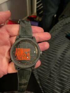Armani Exchange Black/Grey Dial Black Rubber Strap Men's Watch
