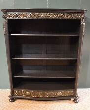Antique Shabby Cottage Chic Victorian Style Black Carved Oak Lion Head Bookcase