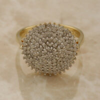 9ct Yellow Gold Diamond Cluster Ring Size R 1/2