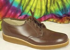 7.5-8 vintage 50s-60s brown leather Velvet Step lace-up wedge oxfords shoes Nos