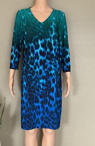NWT Chico's V-neck Ombré Blue MULTI ANIMAL PRINT MARIE Women's DRESS Size 1