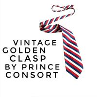 Vintage Golden Clasp Tie USA Prince Consort Stripe, Blue/Red, One Size