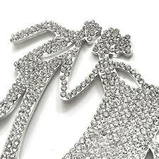 Bling MR & MRS Silhouettes Diamante Rhinestone Gem Cake Topper Silver