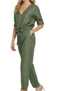 DKNY Women Jumpsuit Olive Green Size 16 Full Zip Elbow Roll Tab Sleeve $129 #166