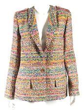 CHANEL 16C Paris Seoul Multi-Color Fantasy Tweed Logo Button Jacket 46 NEW