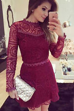 Burgundy Lace Long Sleeve Skater Dress Club Wear Fashion Evening Wear Size S M L