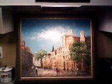 Beautiful R Cook Vintage Europe Scene Street building oil painting bright sky!