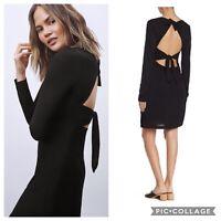 NEW A.L.C. ALC Womens Small NWT Freya Dress Black Solid Cutout Tie Knot Back