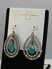 Jessica Simpson Hematite Green FEATHER BURST Triple Nested Teardrop Earrings