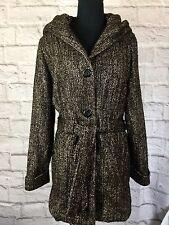 Details Intl Womens Small Hooded Belted Brown Herringbone Coat