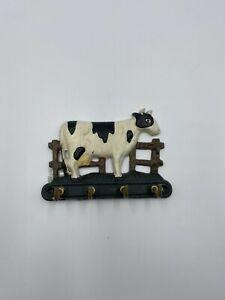 Vintage Cast Iron Barnyard Cow Key Holder ~ 4 Hooks Wall Mount Farmhouse Décor