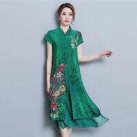 Womens Chinese Qipao Dress Floral Elegant Cheongsam Dress Casual Silk Ethnic En