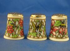 Birchcroft Thimbles -- Set of Three -- Trellis Gold Top