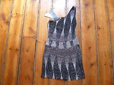 BNWT KATE MOSS BLACK/WHITE 1 SHOULDER BEADED DRESS 8 TOPSHOP
