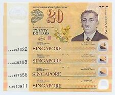 SINGAPORE BRUNEI $20 CIA 40th Years Polymer Full Set OAA OAB OAC OAD (4 Pieces)