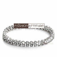 18k white gold gp simulated diamond roma lady chain bracelet 16cm