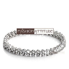 "18k white gold gp simulated diamond roma lady chain bracelet 17cm 6.6"""