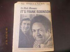 1974 - NY NEWSPAPER - EX ORIOLE FRANK ROBINSON NAMED BASEBALL'S 1st BLACK MANG.