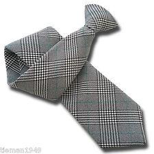 British tessuti Principe di Galles Controllare Uomo Clip Per Cravatta Nero Bianco Verde Clipper