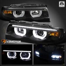 95-01 BMW E38 7-Series 740i 740i Black Dual Halo LED Projector Headlights