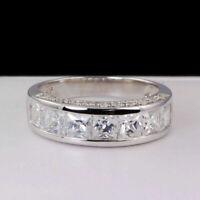 Real 14k White Gold 2.00 Carat Princess Cut Diamond Men's Wedding Band Ring