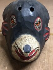 Vintage Hand Crafted Folk Art Wooden Monkey Mask With Glass Eyes