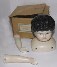"""VTG 1950S REPRO PORCELAIN DOLLS HEAD W ARMS, IOB, LARGE 4"""" VICTORIAN STYLE"""