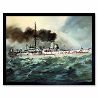 Graf German Navy SM Baden Battleship 1900 Illustration Wall Art Print Framed