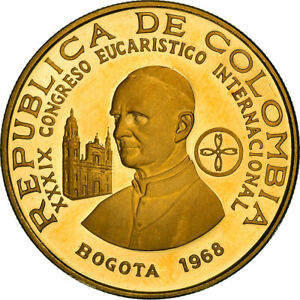 [#867743] Coin, Colombia, 300 Pesos, 1968, Bogota, Proof, MS(63), Gold, KM:233