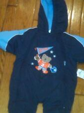 NWT $49 BLUE BUNTING SNOWSUIT PRAM GO TEAM BEAR WITH FOOTBALL ON FRONT 6-9 MOS