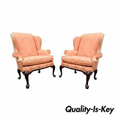 Vintage Pair of Southwood Wing Back Arm Chairs 18th Century Queen Anne Style