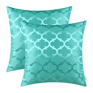 """2Pcs Turquoise Cushion Covers Pillows Cases Accent Geometric Home Decor 18 x 18"""""""