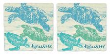 Hawaiian Sandstone Coasters 2 Set Hawaii Turtles Honus Tiki Bar Kitchen Decor NB