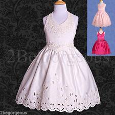 Knee Length Satin Sleeveless Dresses (2-16 Years) for Girls
