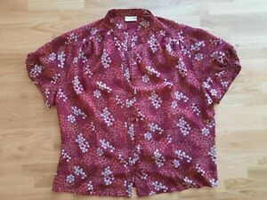 Gorgeous Dark Red Floral Blouse by Roman Originals size 20