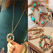 Jewelry Pendant Crystal Long Chain Necklace Peace Sign Bronze Women Gift