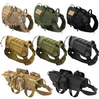 K9 Military Dog Harness Tactical No Pull MOLLE Training POLICE Hunting Doberman