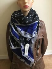 River island large pure silk skull  Square Scarf black  Brand new WITH TAGS