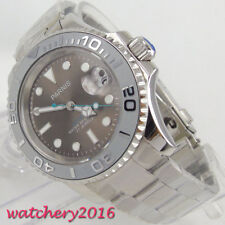 41mm PARNIS Grey Dial Sapphire Glass Date Automatic Mechanical mens Wristwatches