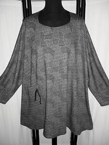 """PULLOVER ÜBERGRÖSSE """" PATCHWORK """" mit Tasche griffiger Jersey grau/schwarz 62 +"""