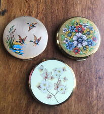 Three Vintage Stratton Powder Compacts Enamelled And Gold Effect