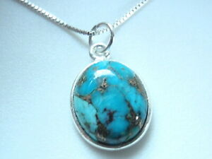 Copper Blue Turquoise 925 Sterling Silver Oval Necklace Corona Sun Jewelry